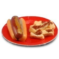 (§) Sale $1 Off - Dollhouse Hot Dog on Paper Plate - Product Image