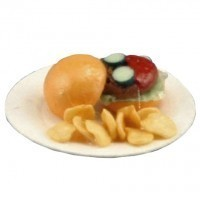 (§) Sale $2 Off - Dollhouse Hamburger on Paper Plate - Product Image