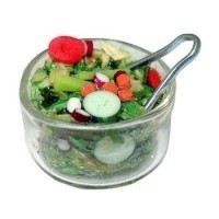 Dollhouse Filled Bowl of Salad with tongs - Product Image
