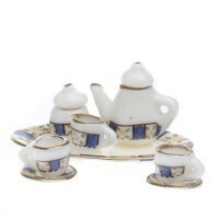(Reduced) Dollhouse Blue Tea Set - Product Image