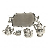 § Sale .60¢ Off - Dollhouse Silver Coffee & Tea Service - Product Image