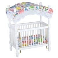 Dollhouse Canopy Crib, White w/ Printed Fabric - Product Image