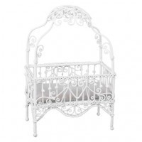 Dollhouse Faux Wicker Princess Crib - Product Image
