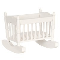(§) Sale $2 Off - Dollhouse White Rocking Cradle - Product Image