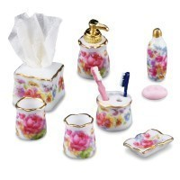 Dollhouse Dresden Rose Bath Accessories by Reutter - Product Image