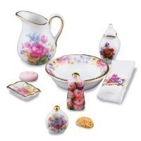 Dollhouse Dresden Rose Bathroom Accessories - Product Image
