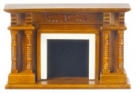 Dollhouse Victorian Walnut Fireplace - Product Image