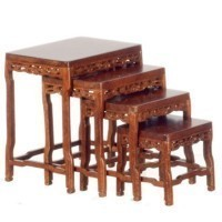 Dollhouse Nesting Tables Walnut Circa 1860 - Product Image