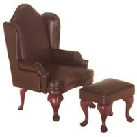 Dollhouse Wing Chair with Ottoman - Brown Leather - Product Image