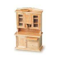 Dollhouse Flour Bin Hutch in Oak - Product Image