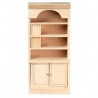 Unfinished Dollhouse Bookcase with Books - Product Image