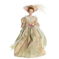 (*) Porcelain Lady Victorian Doll - Beige/Green Gown - Product Image