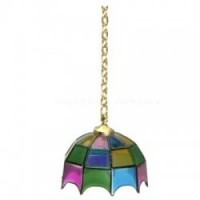 Multi Color Hanging Tiffany Lamp - Non Working - Product Image