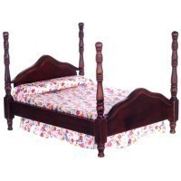 Dollhouse Double Cannonball Bed - Walnut - Product Image