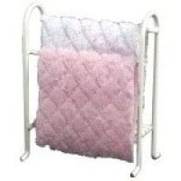 White Dollhouse Towel Rack with Towels - Product Image