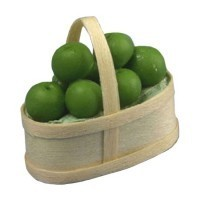 Dollhouse Green Apples in Basket - Product Image