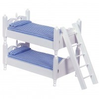 White Colonial Bunk Bed w/Ladder - Blue - Product Image