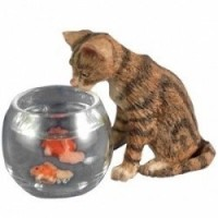 Dollhouse Curious Cat With Fish Bowl - Product Image