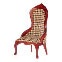 Dollhouse Plaid Victorian Lady's Chair - Product Image