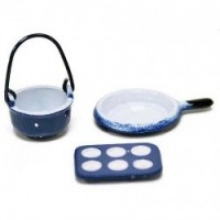 § Sale .30¢ Off - Dollhouse 3 pc Blue Spatter Cookware - Product Image