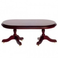 Dollhouse Oval Mahogany Dining Table w/ Wheels - Product Image