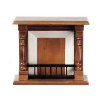 (**) Victorian Walnut Dollhouse Fireplace - Product Image