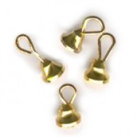 (§) Disc. $1.50 Off - 4 pc Tiny Brass Bell Ornaments - Product Image
