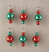 (*) Dollhouse 6 pc Triple Red & Green Ornaments - Product Image
