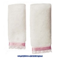 § Sale .40¢ Off - 2 pc Towel Set - White & Pink - Product Image