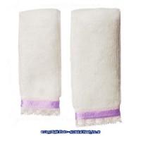 Dollhouse 2 pc Towel Set - White & Purple - Product Image