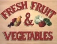 (**) Fresh Fruits & Vegetables Store Sign - Product Image
