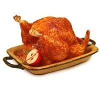Dollhouse Baked Turkey w/Apples in Roaster - Product Image