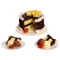 Dollhouse Chocolate & Vanilla Cake with 2 Slices - Product Image