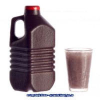 Dollhouse Glass of Chocolate Milk with Bottle - Product Image