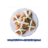 (**) Dollhouse Hot Cross Buns Plate - Product Image
