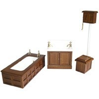 Dollhouse Victorian Walnut Bathset - Product Image