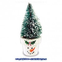 Snowman Flower Pot with Tree - Product Image