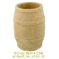 Dollhouse Medium Wood Barrel - Product Image