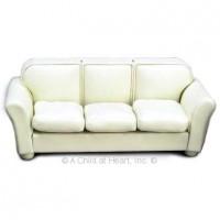 Sale $5 Off - Dollhouse Leather Sofa - Cream - Product Image