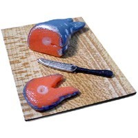 Dollhouse Un-Cooked Salmon on Cutting Board - Product Image