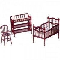 Dollhouse Mahogany Victorian Nursery Set - Product Image