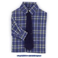 § Disc .60¢ Off - Man's Shirt Blue Plaid w/ Tie - Product Image