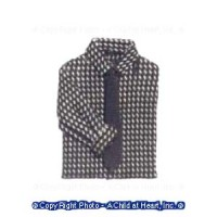 Man's Shirt Gray Check with Tie - Product Image