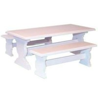 Dollhouse Trestle Table & Benches - Product Image