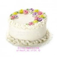 Dollhouse White Rose Cake - Product Image