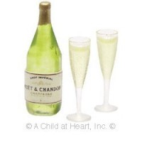 Dollhouse Champagne Bottle & Glasses - Product Image