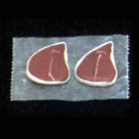 Dollhouse Raw T-Bones on Wax Paper - Product Image