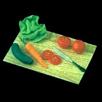 Dollhouse Salad Makings on Cutting Board - Product Image