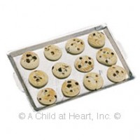 Dollhouse Chocolate Chip Cookies on Baking Sheet - Product Image