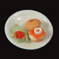 Dollhouse Bagel & Lox on Plate - Product Image